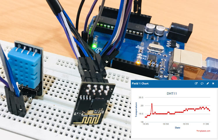 IoT based Temperature and Humidity Monitoring on Thingspeak using Arduino and ESP8266