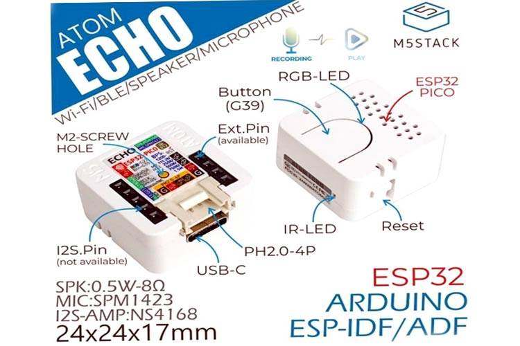 M5Stack ATOM Echo Smart Mini ESP32 based Programmable Speaker