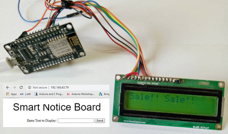 Web Controlled Notice Board using NodeMCU ESP8266